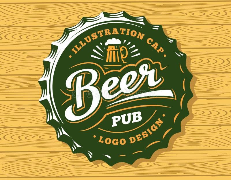 Beer logo on cap - vector illustration, emblem brewery design stock illustration