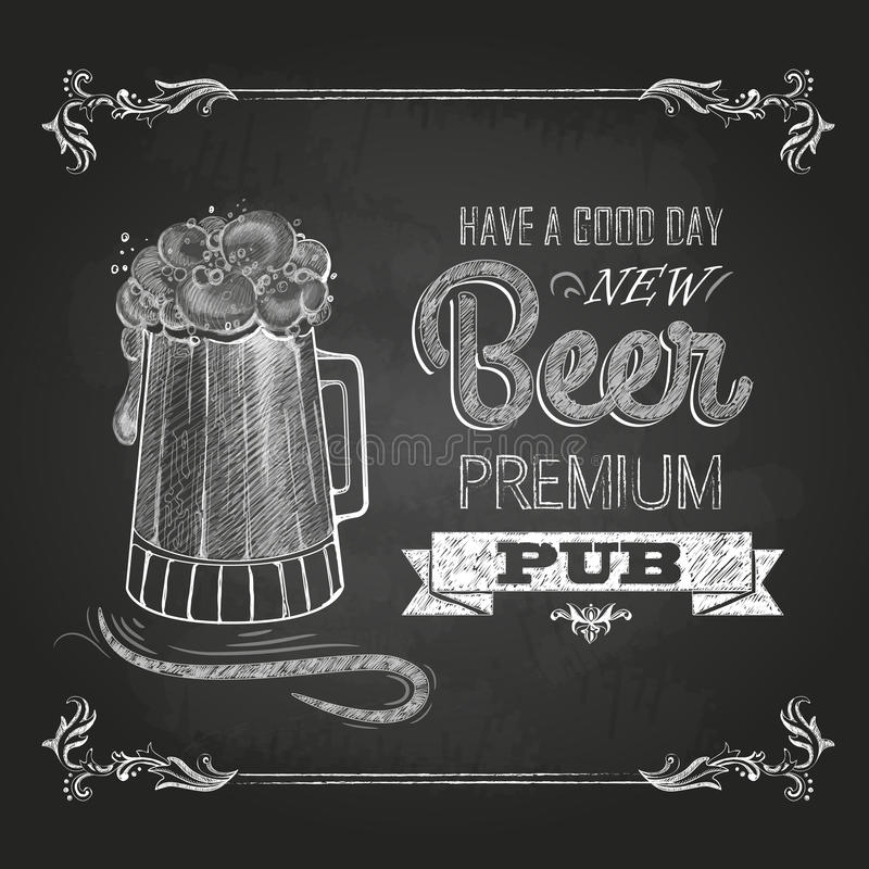 Beer in mag. Chalk drawing stock illustration