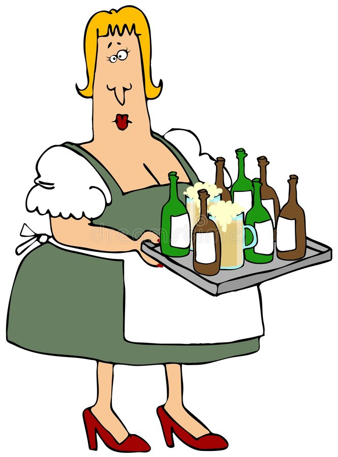 Beer Maiden. This illustration depicts a woman in Bavarian clothing carrying a tray full of beer bottles and glasses royalty free illustration