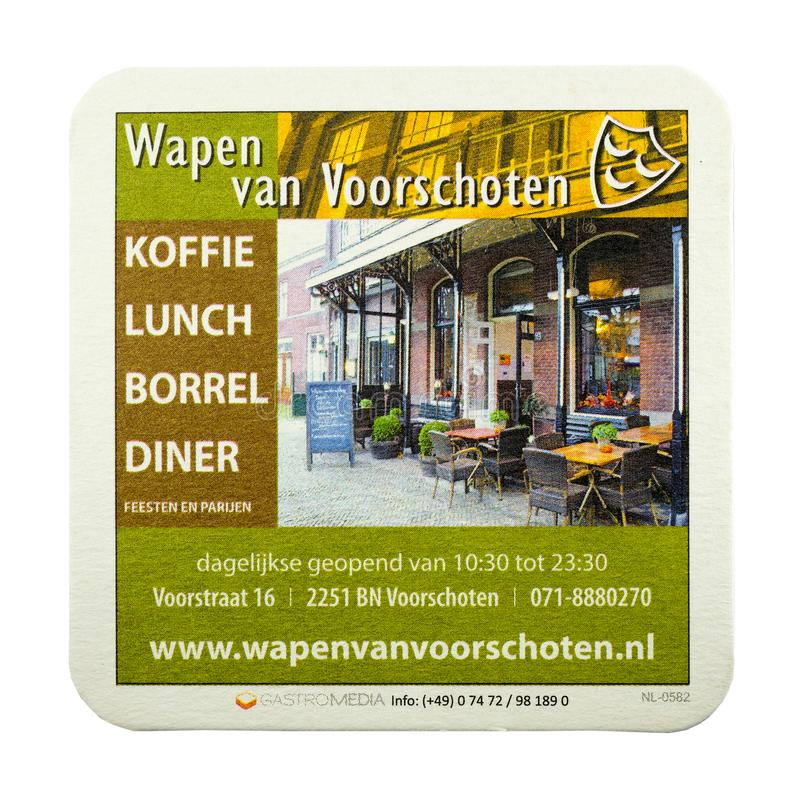 Beer mat advertising The Wapen van Voorschoten cafe. royalty free stock images