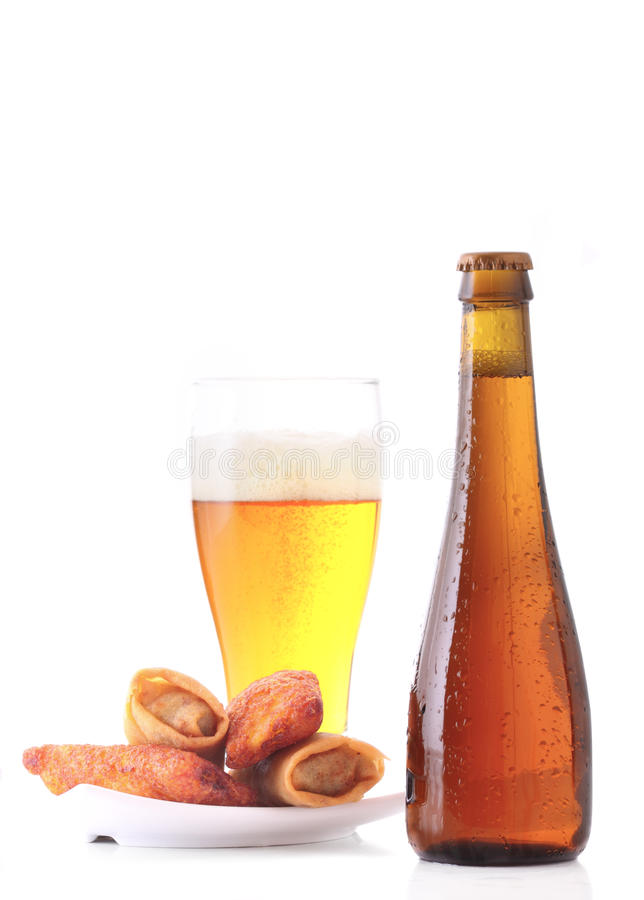 Beer and meat croquettes isolated on white