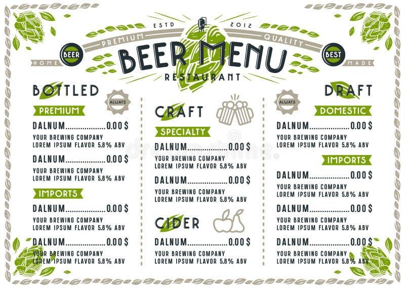 Beer menu for cafe and restaurant vector illustration