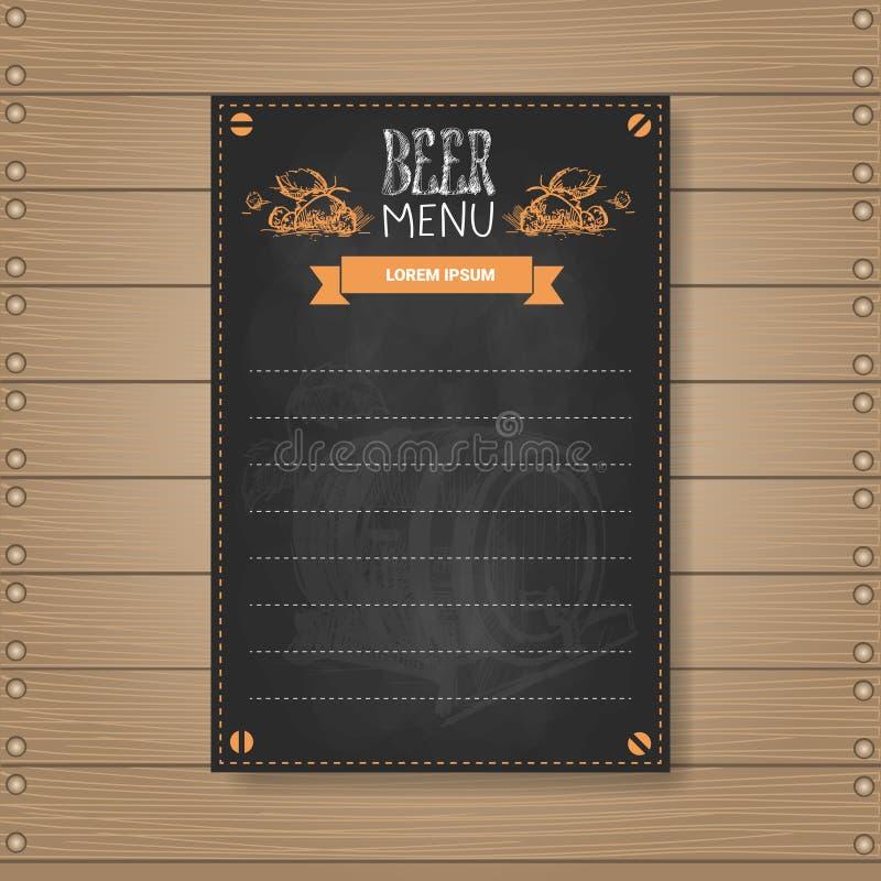 Beer Menu Design For Restaurant Cafe Pub Chalked On Wooden Textured Background vector illustration