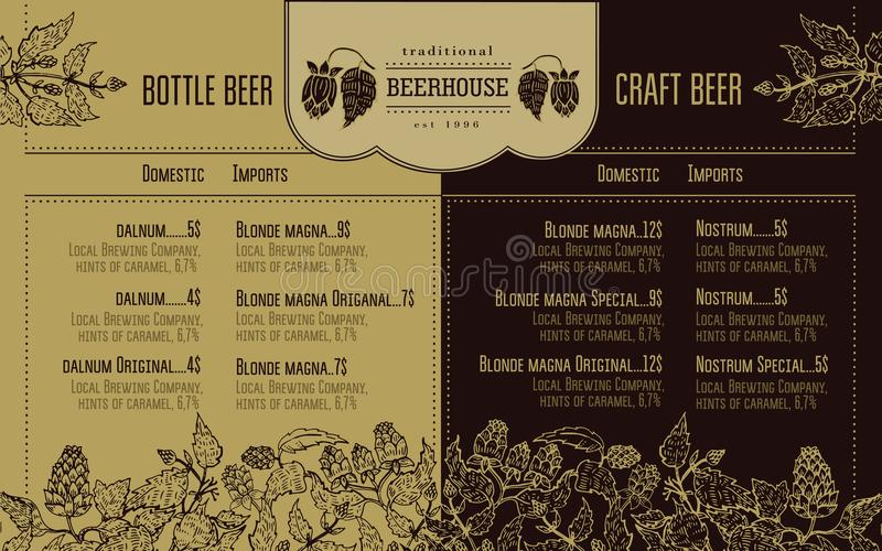 Beer menu for restaurant and cafe. Design template with hand drawn graphic elements in retro style. stock illustration