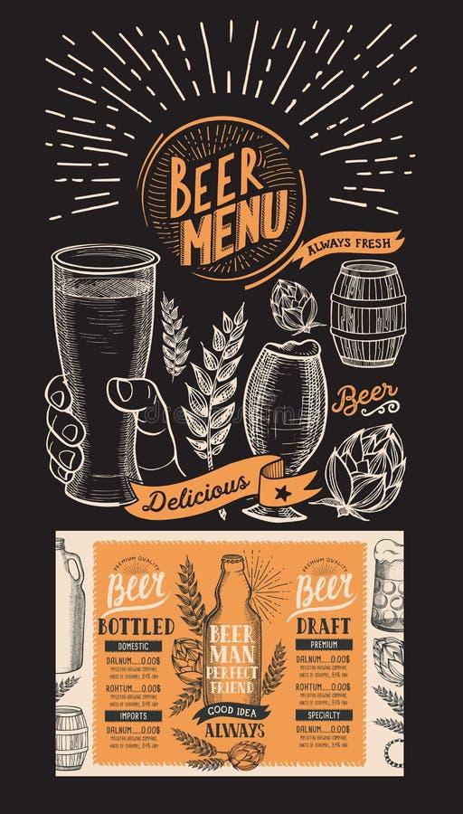 Beer menu for restaurant. Design template with hand-drawn graphic illustrations. Vector beverage flyer for bar. vector illustration