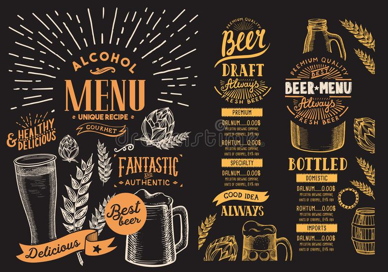 Beer menu for restaurant. Design template with hand-drawn graphic illustrations. Vector beverage flyer for bar. royalty free illustration