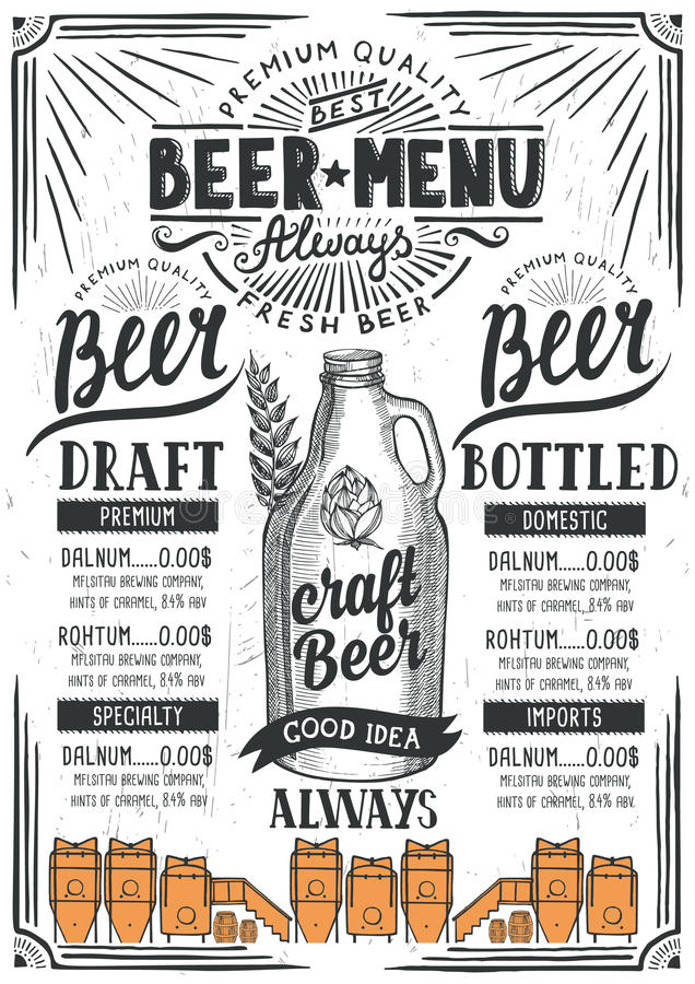 Beer menu restaurant, drink template. royalty free illustration