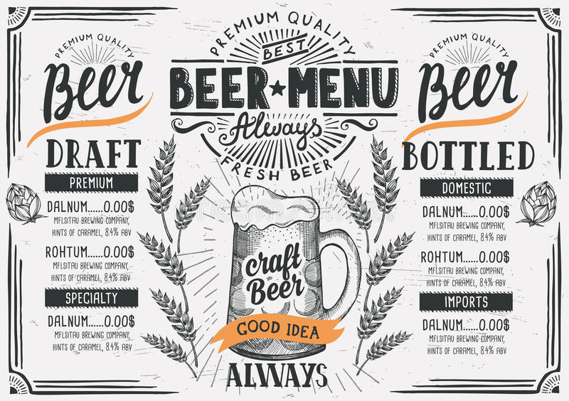 Beer menu restaurant, drink template. royalty free illustration