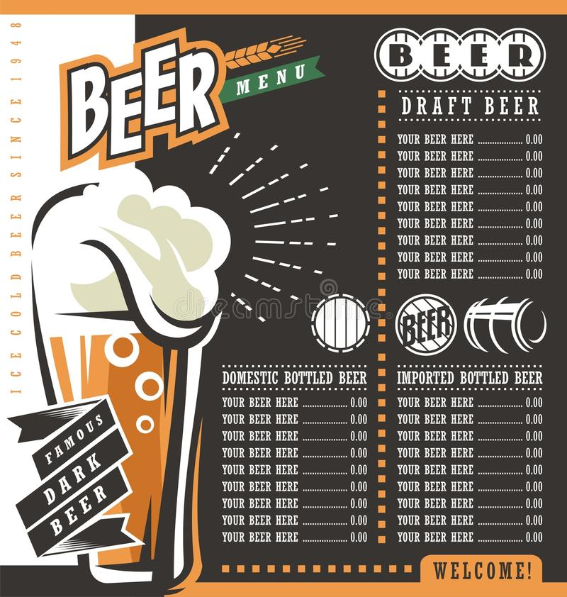 Beer Menu Retro Design Template Stock Vector  Illustration Of