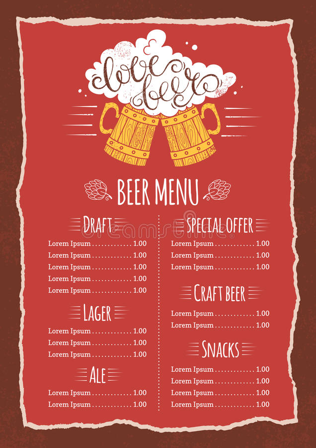 Beer Menu Template Stock Vector Illustration Of Flyer