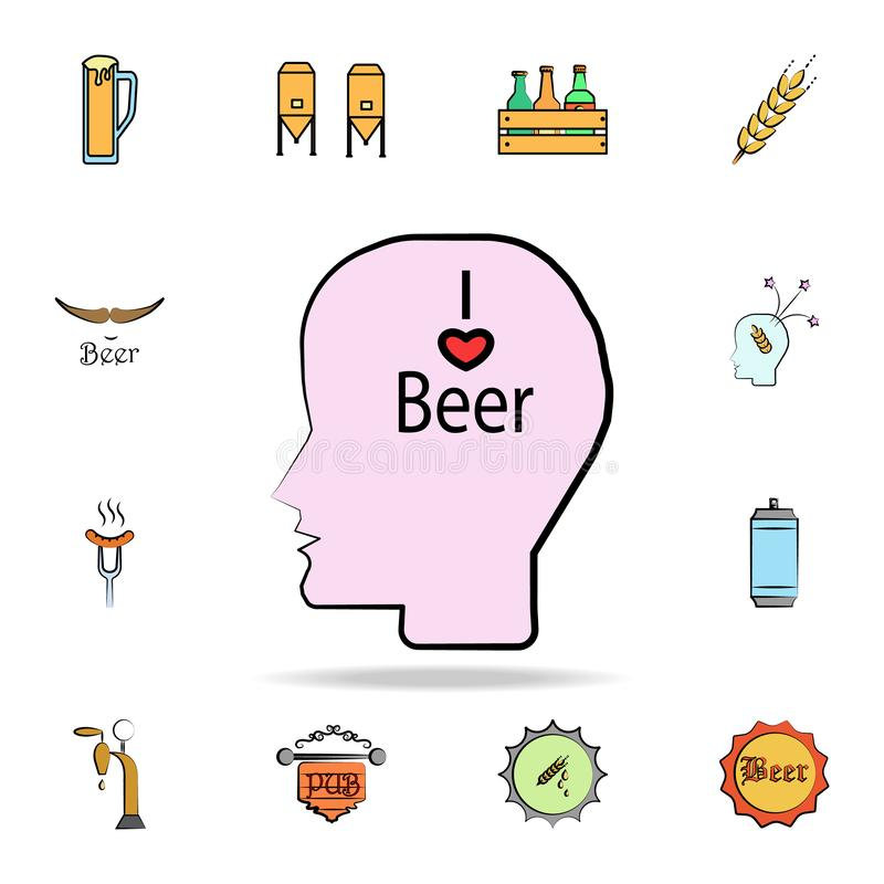 Beer in mind colored sketch style icon. Detailed set of color beer in hand drawn style icons. Premium graphic design. One of the. Collection icons for websites royalty free illustration