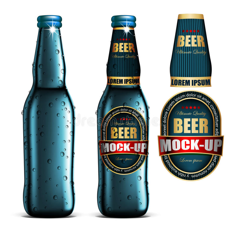 Free Beer-mock-up-set,blue Bottle Without A Label, Bottle With A Label And A Separate Labels. Highly Realistic Illustration. Royalty Free Stock Photos - 97583028