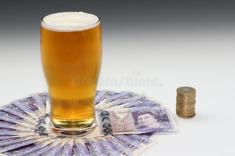 Beer money stock image  Image of sterling, pint, coins