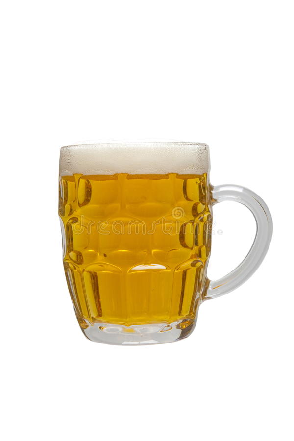 Beer mug. Full of lager beer royalty free stock photos