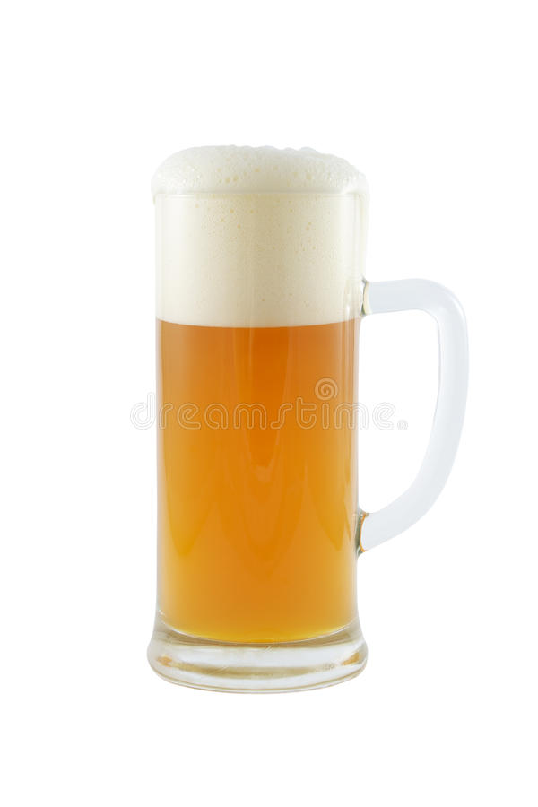 Beer mug with beer isolated on white. Beer mug with froth isolated over a white background royalty free stock photography