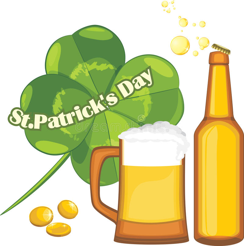 Beer mug and bottle, coins and clover leaf. Congratulation with St. Patrick's Day royalty free stock images