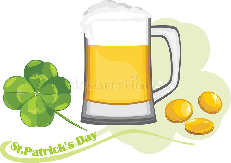 Beer mug, coins and clover leaf. Congratulation with St. Patrick's Day royalty free stock photos