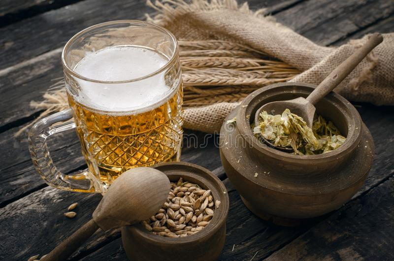 Glass of frothy beer, malt and hop. stock photo
