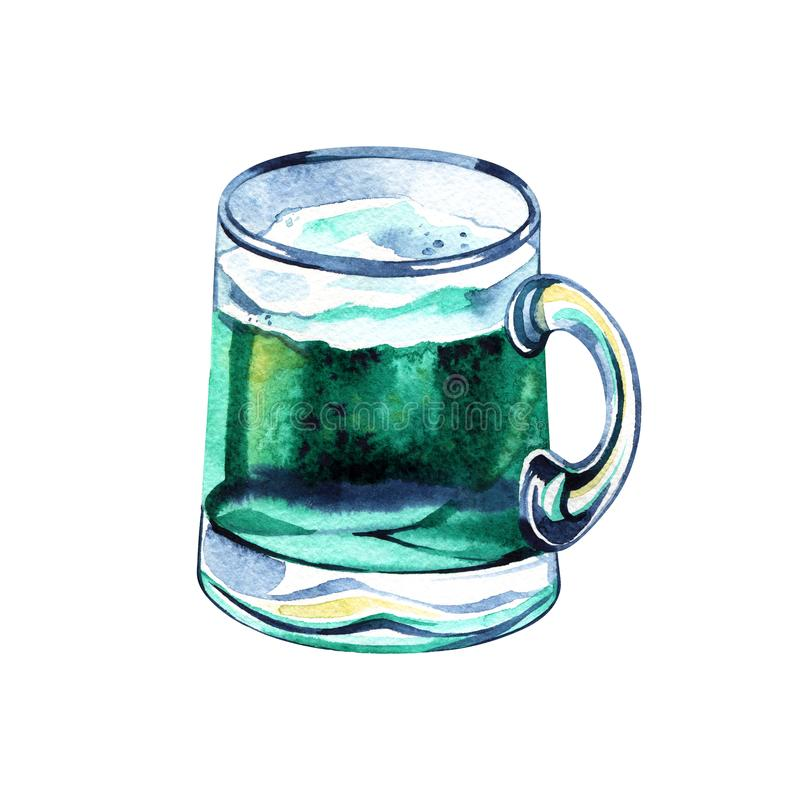 Beer mug with green beer for Saint Patrick day. Watercolor with splashing, drops for irish holiday stock image