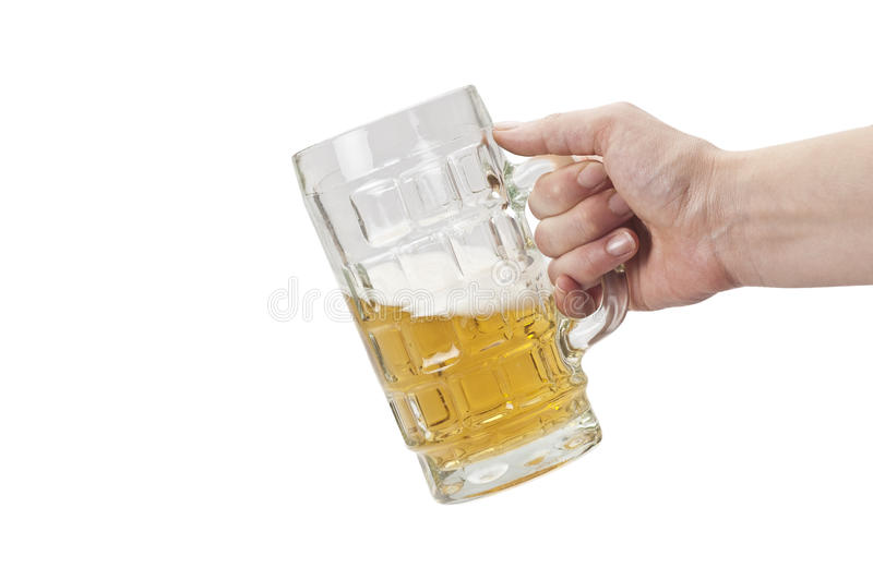 Download Beer Mug with hand stock photo. Image of yellow, thirst - 14303520