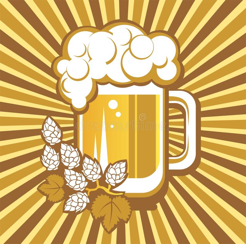 Beer mug and hops. On a striped background vector illustration
