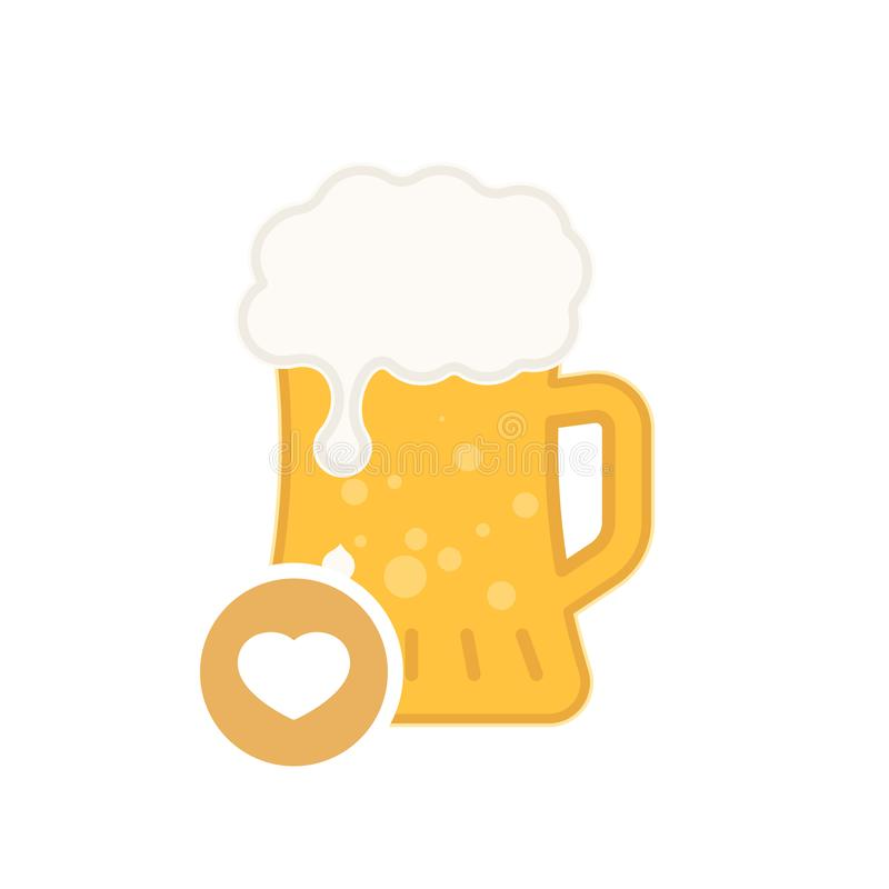 Beer mug icon with heart sign. Alcohol beverage icon and favorite, like, love, care symbol. Vector illustration royalty free illustration