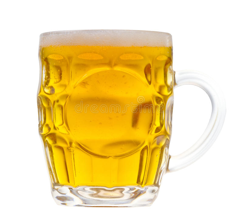 Beer mug isolated. Close up of beer mug with bubbles and foam isolated on white royalty free stock photos