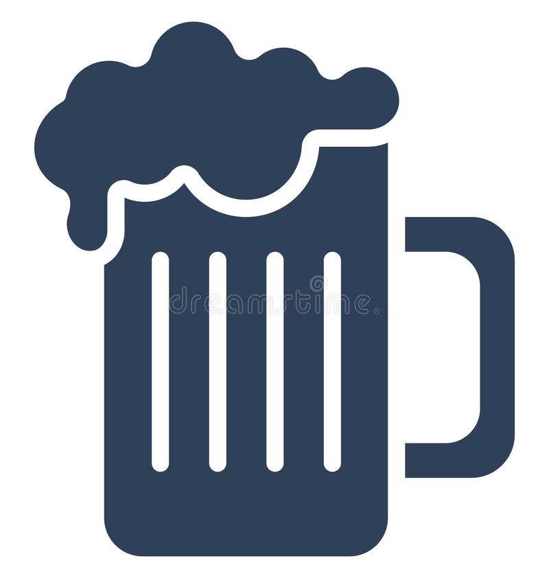 Beer Mug Isolated Vector icon that can be easily modified or edit Beer Mug Isolated Vector icon that can be easily modified or ed stock illustration