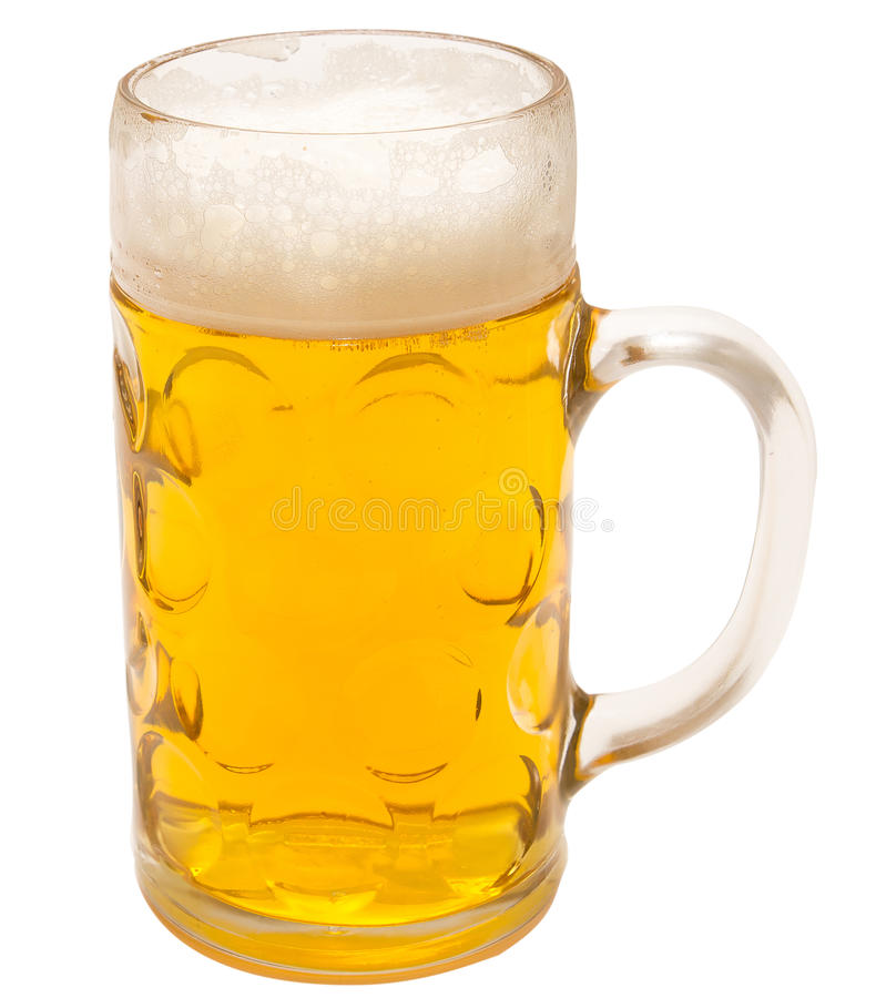 Beer mug. One litter glass of beer mug isolated royalty free stock images