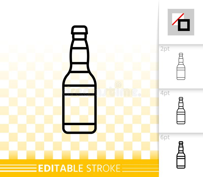 Beer Mug simple black line vector icon. Beer bottle thin line icon. Outline sign of tall glass. Pub linear pictogram with different stroke width. Bar simple stock illustration