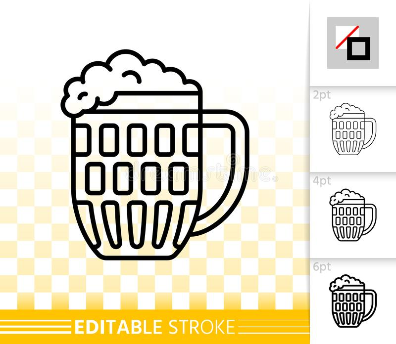 Beer Mug simple black line vector icon. Beer Mug thin line icon. Outline web sign of glass. Pub cup linear pictogram with different stroke width. Bar simple vector illustration