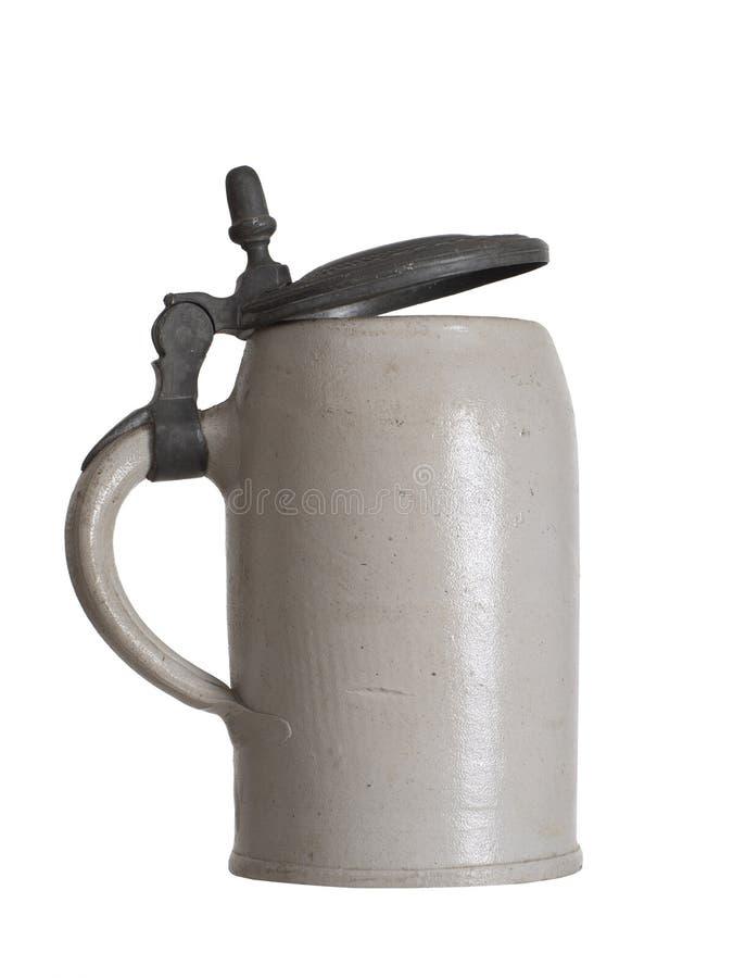 Beer mug, stein, isolated own white background. Plain, old design. stock photos