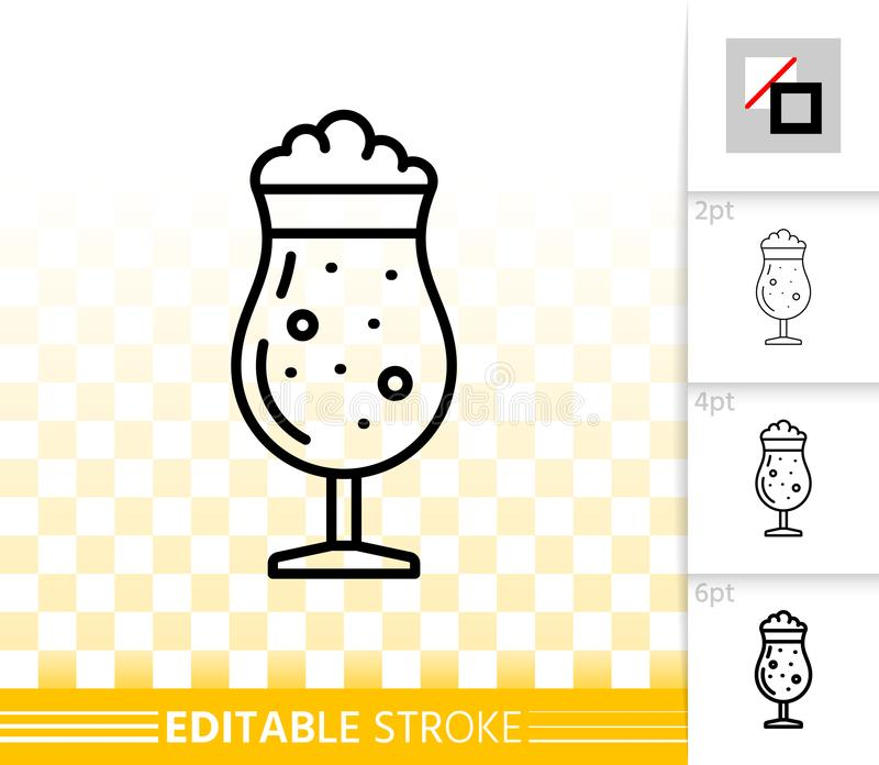 Beer Mug simple black line tall glass vector icon. Beer Mug thin line icon. Outline sign of tall glass. Pub Bar linear pictogram with different stroke width royalty free illustration