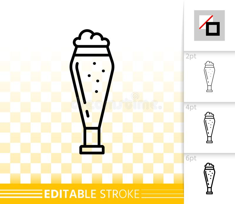 Beer Mug simple black line tall glass vector icon. Beer Mug thin line icon. Outline sign of tall glass. Pub Bar linear pictogram with different stroke width vector illustration