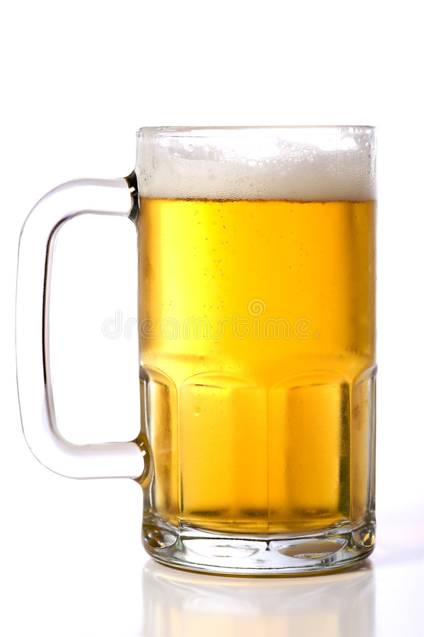 Beer Mug On White. A large glass beer mug on a white background stock photos