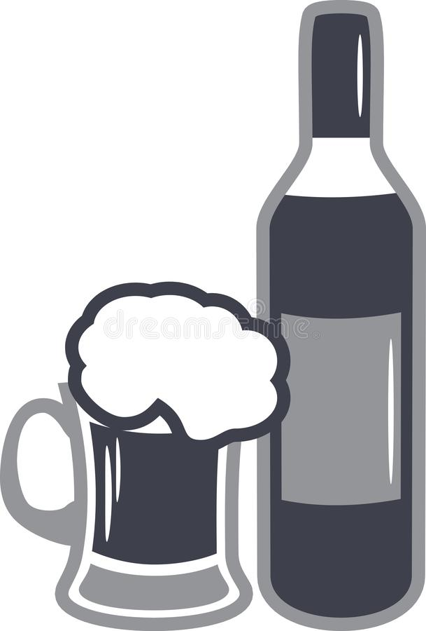 Beer mug and wine bottle. Icon for design royalty free stock photo