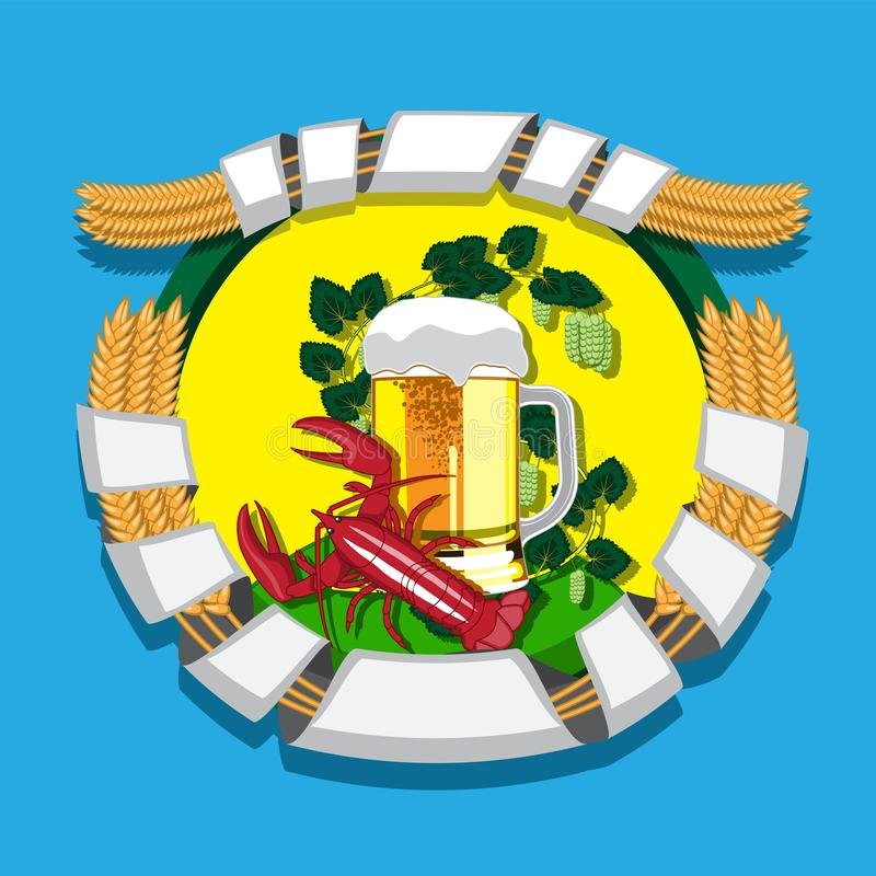 Beer mug with wreath of hops, rye and boiled cancer on background. Vector illustration. Eps 10 vector illustration