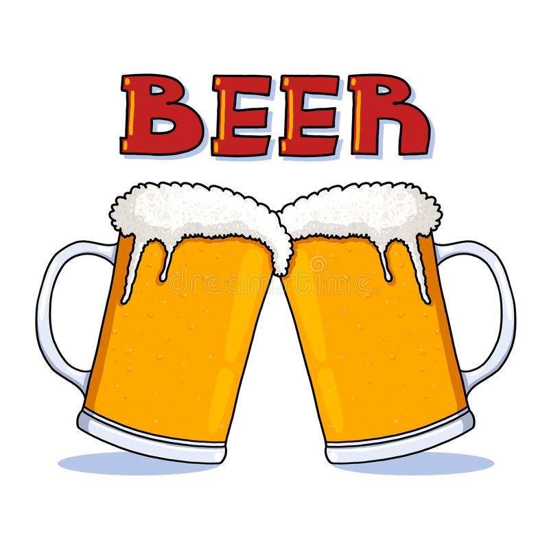 Beer mugs illustration stock illustration