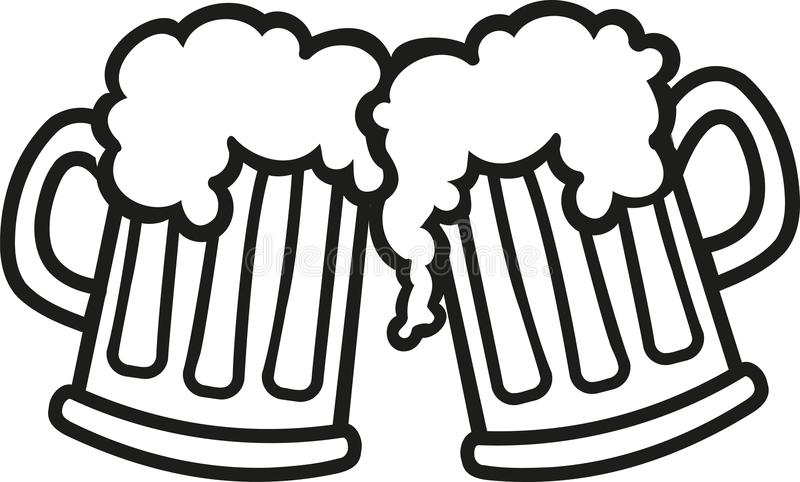 Beer mugs cartoon cheers royalty free illustration