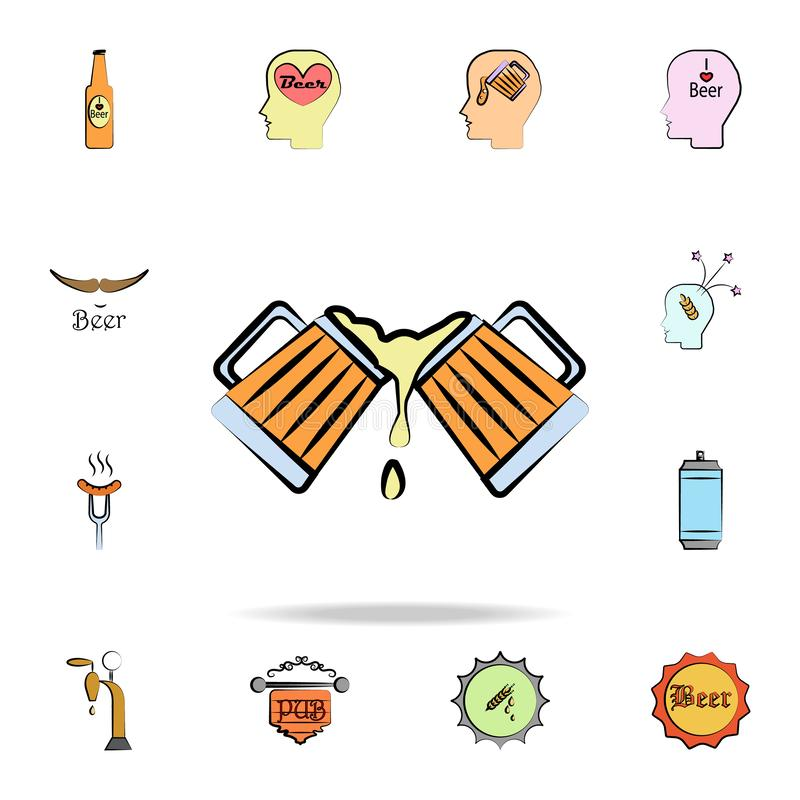 Beer mugs colored sketch style icon. Detailed set of color beer in hand drawn style icons. Premium graphic design. One of the. Collection icons for websites royalty free illustration
