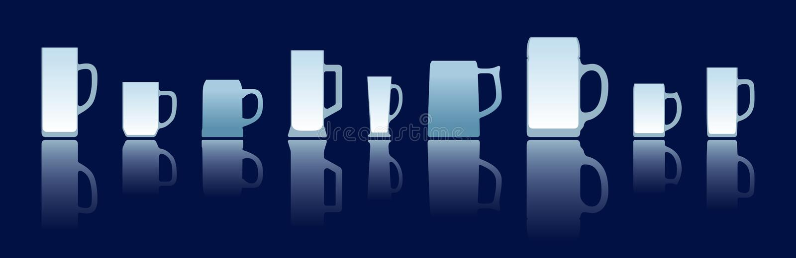 Beer mugs silhouettes royalty free illustration