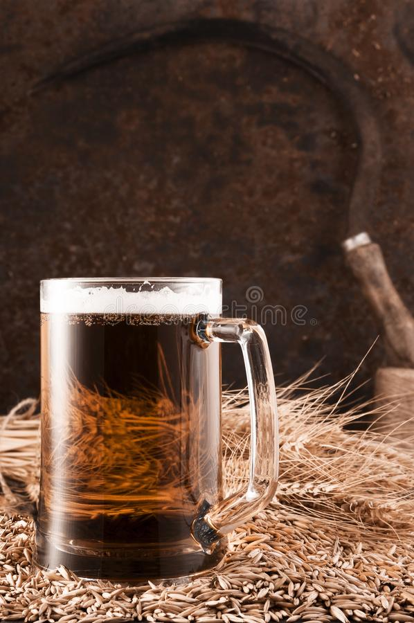 Beer mugs by swimming pool in tropical resort stock images