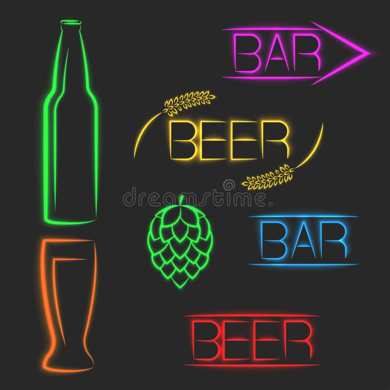 Beer multicolored vibrant neon signs, luminous advertising set banners words bar, beer bottle, glass, ear of wheat, cone of hops royalty free illustration