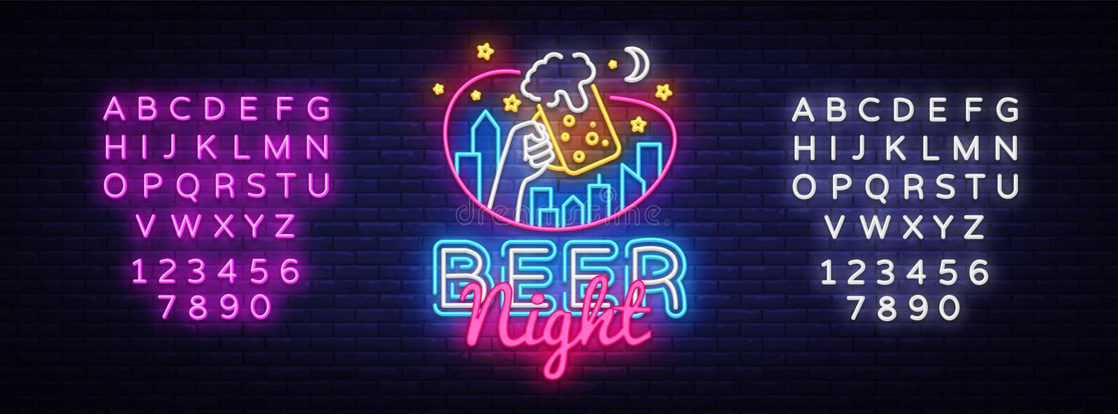 Beer neon sign vector. Beer Night Design template neon sign, light banner, neon signboard, nightly bright advertising. Light inscription. Vector illustration stock illustration