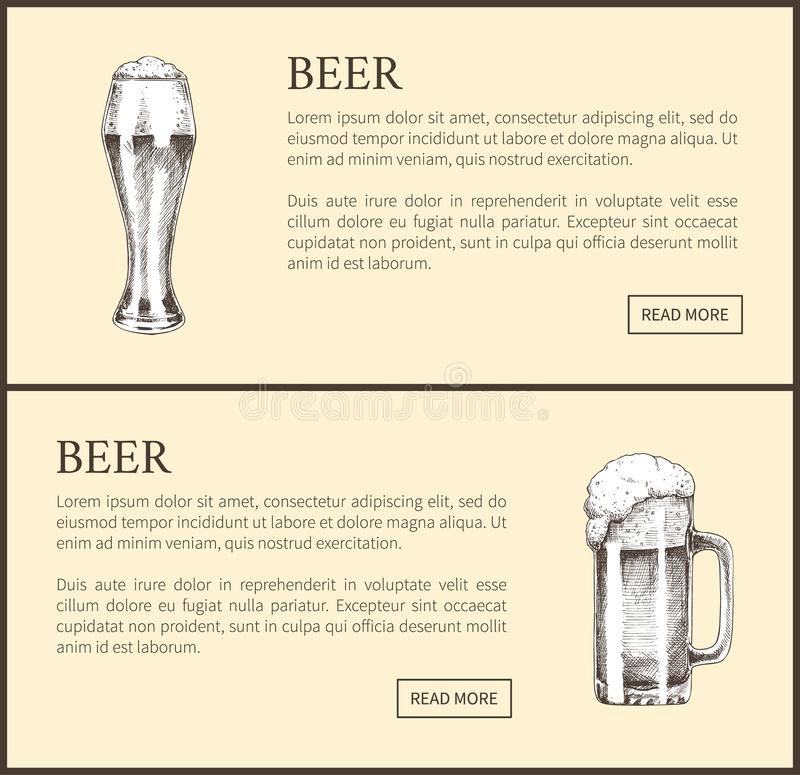 Beer Objects Set Hand Drawn Vector Sketches. stock illustration