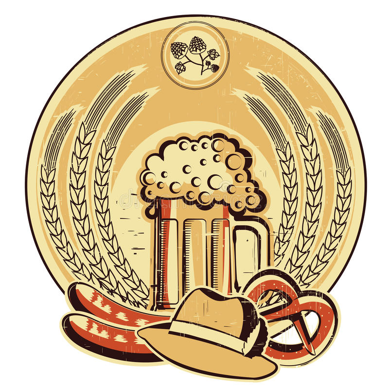 Beer oktoberfest label.Vintage graphic illustratio royalty free illustration