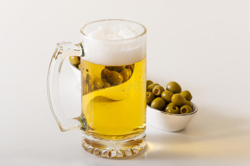 Beer and Olives royalty free stock photo