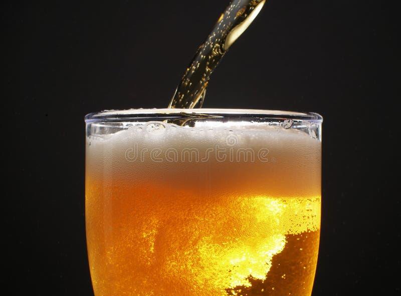 Beer over black. Pouring beer over black background stock image