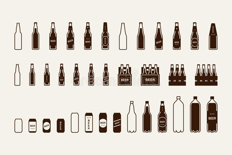 Beer package icon set: bottle, can, box royalty free illustration