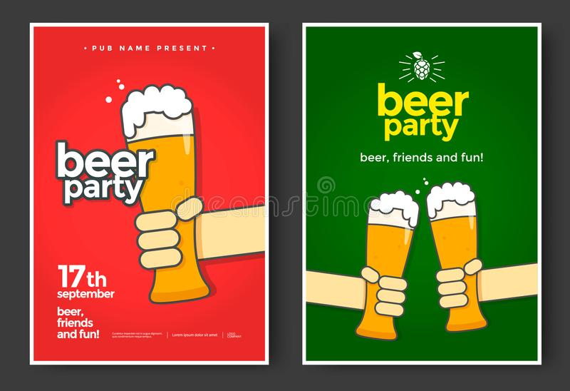 Beer party poster. Or flyer design. Glass of beer in hand. Vector illustration stock illustration